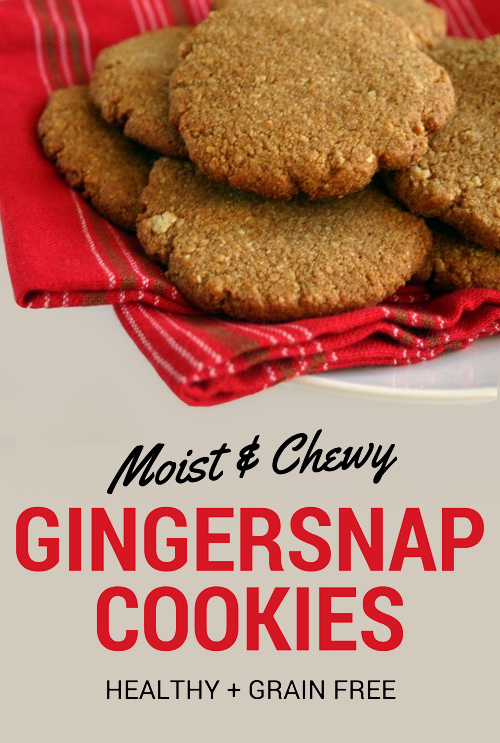 Perfect for a healthy holiday treat! Chewy gingersnap cookies. Palso, grain free, healthy.