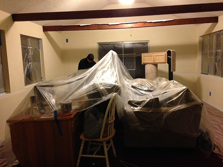 Here is what our entire house looked like on Christmas Eve. That is our office under the plastic.