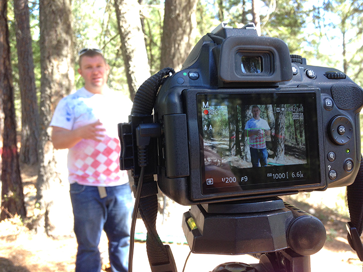 Producing a video about picking which trees to cut down on our property.
