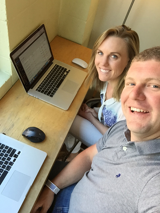 Working side-by-side in a coffee shop in Seattle last year. We love being partners in crime and think we make a really great time (most days...!).