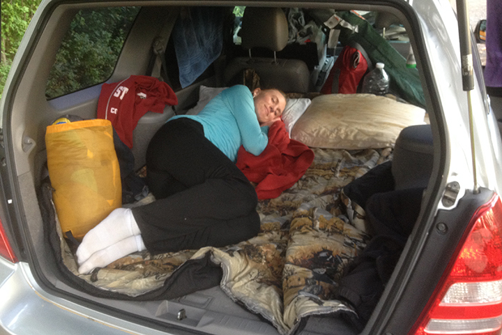 We love our Forester... we were able to sleep in it no problem!