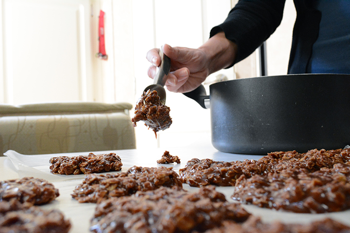 We don't have much to give at the moment, but one thing we can easily do is make no-bake cookies! It's just a small gesture we can do to say hello and that we would like to get to know one another.