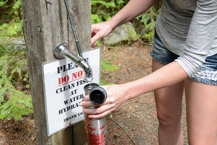 Filling up on water at a state campground. We always filled 3 gallons and our water bottles.