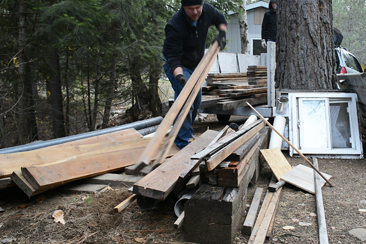 At this stop, we collected a trailer of materials for $125 which included lots of lumber, a couple windows and more.