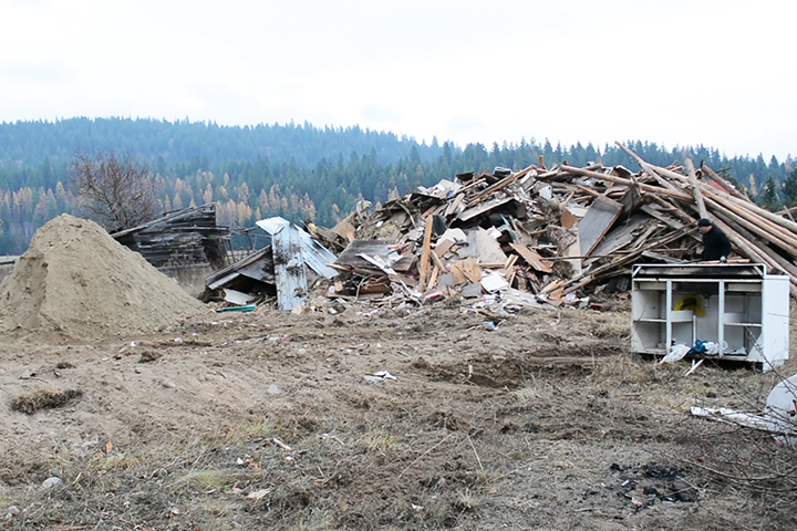 demolished building - reclaimed construction materials