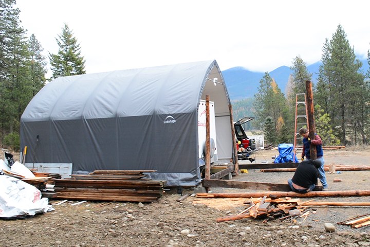 Here is our RV and Garage-in-a-Box just before we built the frame of the cabin.