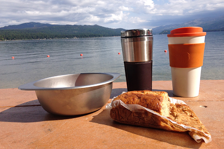 We enjoyed a simple breakfast on the lake in McCall.