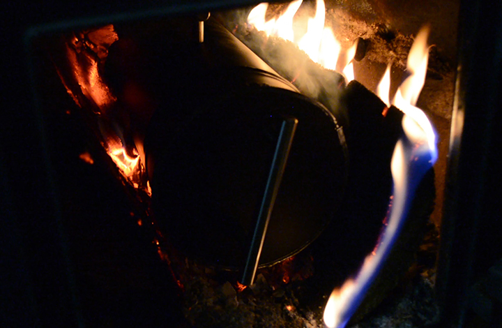 making biochar in a wood stove