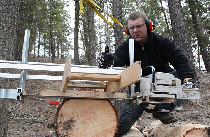"Milling lumber with our Alaskan chainsaw mill to 1.5"" thick."