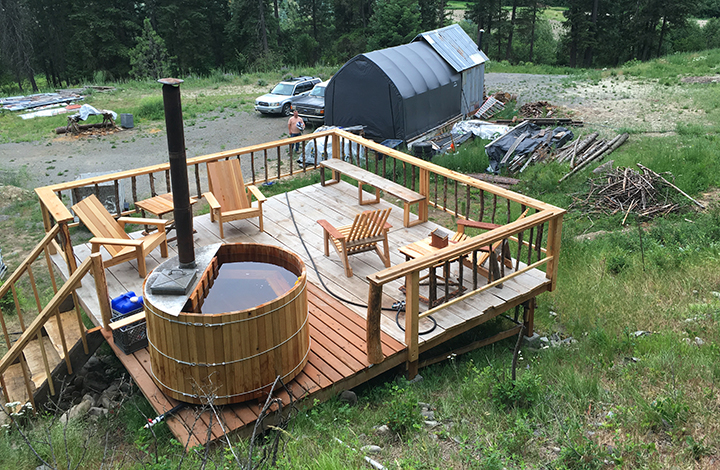Our extended home... a deck and hot tub! Talk about having a nice place to retreat to!