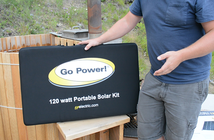 opening the 120 portable solar kit
