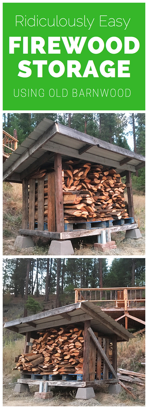 Super easy and quick way to build your own firewood storage using barnwood and other reclaimed materials!