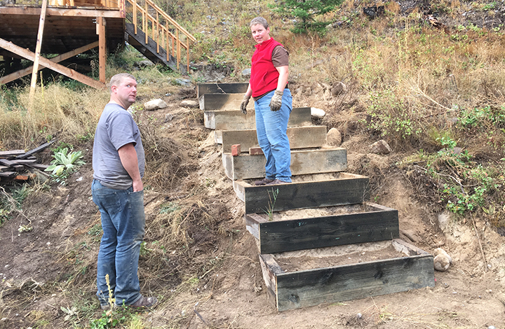 Jesse and Anna working on the stairs!