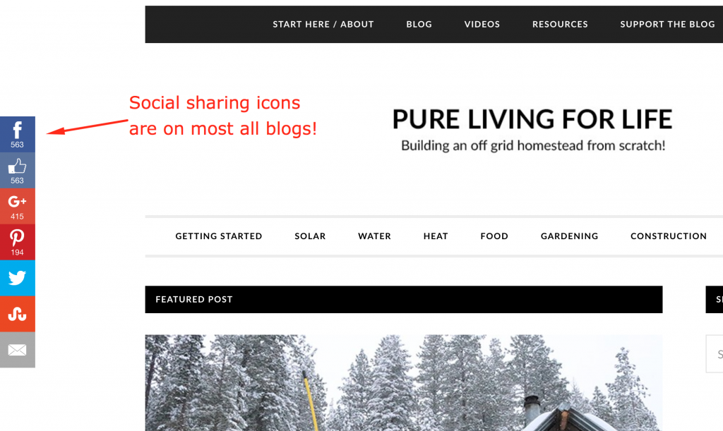 Social sharing icons are on most blogs