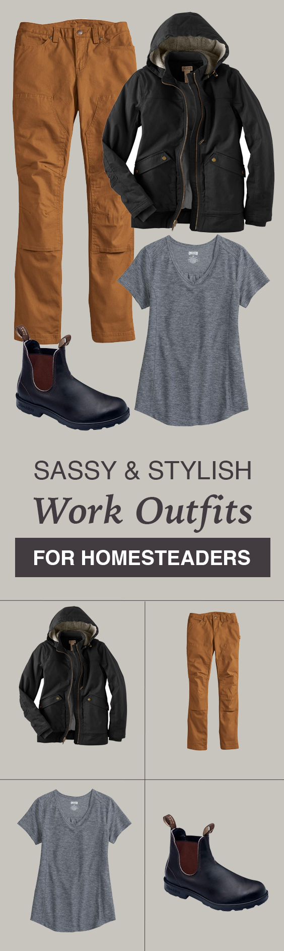 This site has lots of great ideas for finding quality workwear clothing & outfits for women that don't suck! Great for homesteading, barn chores and even camping.